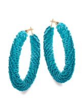 KENNETH JAY LANE Blue turquoise sequins gold tone over sized hoop earrings - $64.35