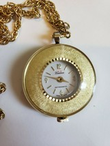 Lucerne Watch Necklace Swiss Movement Windup Working Goldtone - $48.38
