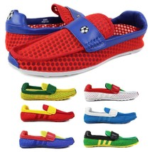 Fiesso Men's Soccer Football World Cup 2018 Mesh Slip On Moccasins Loafers Shoes