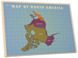 """Pingo World 0126Q9G55L4 """"Map of North America Upside Down"""" Gallery Wrapped Canva - $53.41"""