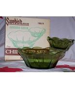 Vintage Anchor Hocking- 2 Tiered- 3 Pc Chip & Dip Set- Avocado Green w/O... - $12.95
