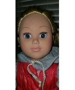 2013 Cititoy Doll With Blonde Curly Hair & Blue Eyes With Dark Eyelashes... - $16.82