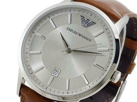 New Emporio Armani Gents SIlver Dial Brown Leather Strap Mens Watch AR2463 - $101.49