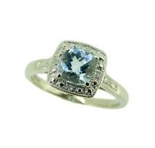 10k White Gold Cushion Genuine Natural Aquamarine and Diamond Halo Ring ... - $350.00