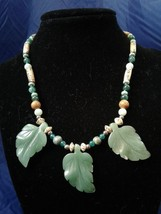 "15"" Handmade Jade Leave Beaded Necklace Z139 - $40.00"