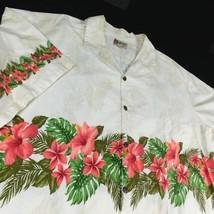 Hilo Hattie Ivory  Aloha Camp Hawaiian Shirt Sz 5XL Hibiscus Monstera Leaf - $29.99