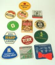 Lot of Vtg Beer Coasters Budweiser BabyCham Holsten Tetley Brains Man Cave - $19.79