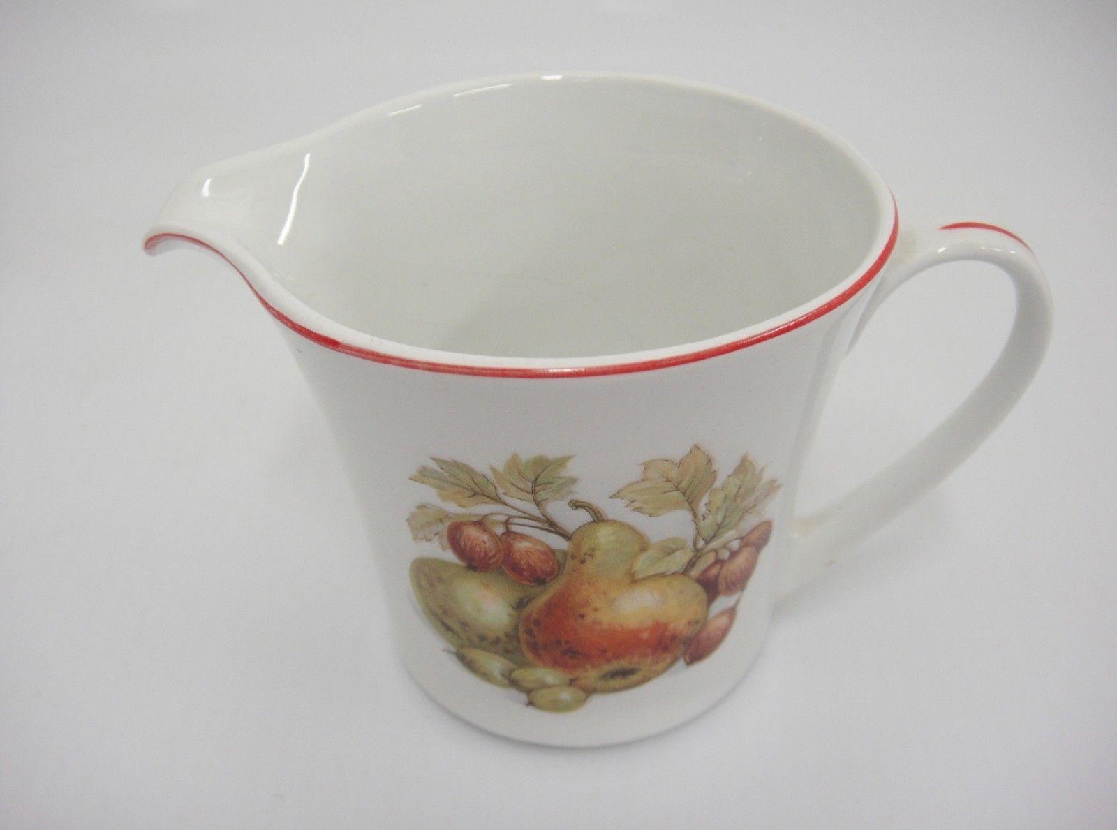 Pontesa Spain Four Cup Coffee Set Pot Sugar and Creamer Fruit Design Red Trim image 8