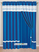 4P Embroidery Floral Scroll Medallion Bouquet Rangoli Curtain Set Blue Off-White - $40.89