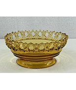Vintage Imperial Glass Amber Crocheted Laced Edge & Footed Oval Candy Bo... - £10.73 GBP