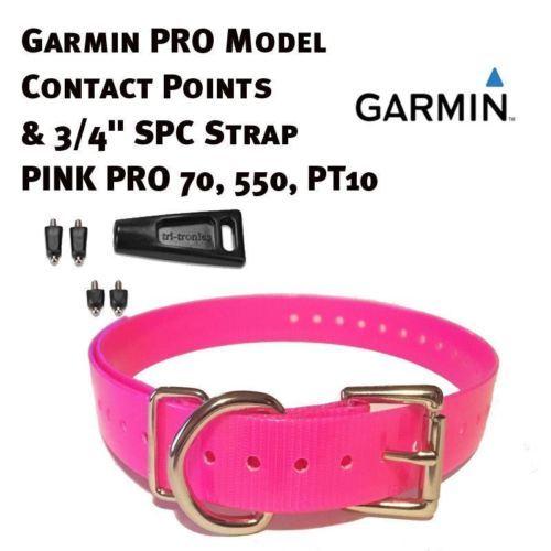 "Garmin PRO Model Contact Points & 3/4"" SPC Strap - Neon Pink  PRO 70, 550, PT10"
