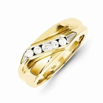 14K YELLOW GOLD 5-STONE 1/3 CT DIAMOND MEN'S RING BAND - SIZE 10 - £964.53 GBP