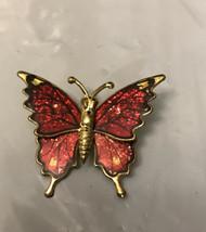 Vintage Jewelry Brooch Pin Butterfly Tin Enamel - $4.95