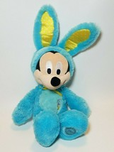 "Disney Store Mickey Mouse Plush Easter Bunny Ears Turquoise Blue 18"" - $14.80"