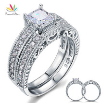 Peacock Star Vintage Victorian Art Deco Wedding Engagement Ring Set 925 ... - $32.33
