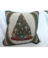 "Tapestry pillow 12.5"" x 12.5"" green with Christmas tree design - $9.50"