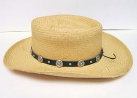 VILLAGE HAT SHOP SAN DIEGO ECUADOR COWBOY STRAW HAT WESTERN W CONCHO BAND - $29.92
