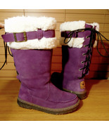 BEARPAW Outdoor Winter Suede Snow Boots 7 Purple fur lined LaceUp back I... - $59.39