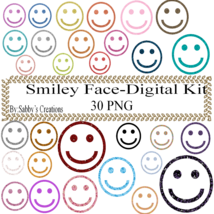 Glitter Smiley Face-Digital Kit-Jewelry Tag-Clipart-Art Clip-Gift Tag-T ... - $3.99