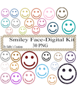 Glitter Smiley Face-Digital Kit-Jewelry Tag-Clipart-Art Clip-Gift Tag-T ... - $1.99