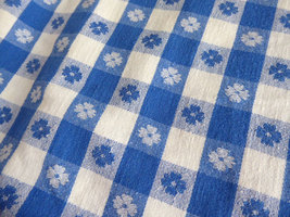 Retro 56 Long by 27 Curtain Drapery 1950s Blue And White Picnic Cloth Reversible image 4