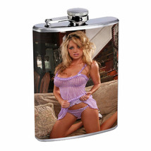 British UK Pin Up Girls D15 Flask 8oz Stainless Steel Hip Drinking Whiskey - $13.81