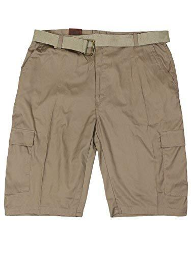 LR Scoop Men's Casual Golf Belted Cargo Dress Shorts Big Plus Sizes (46W, Khaki)