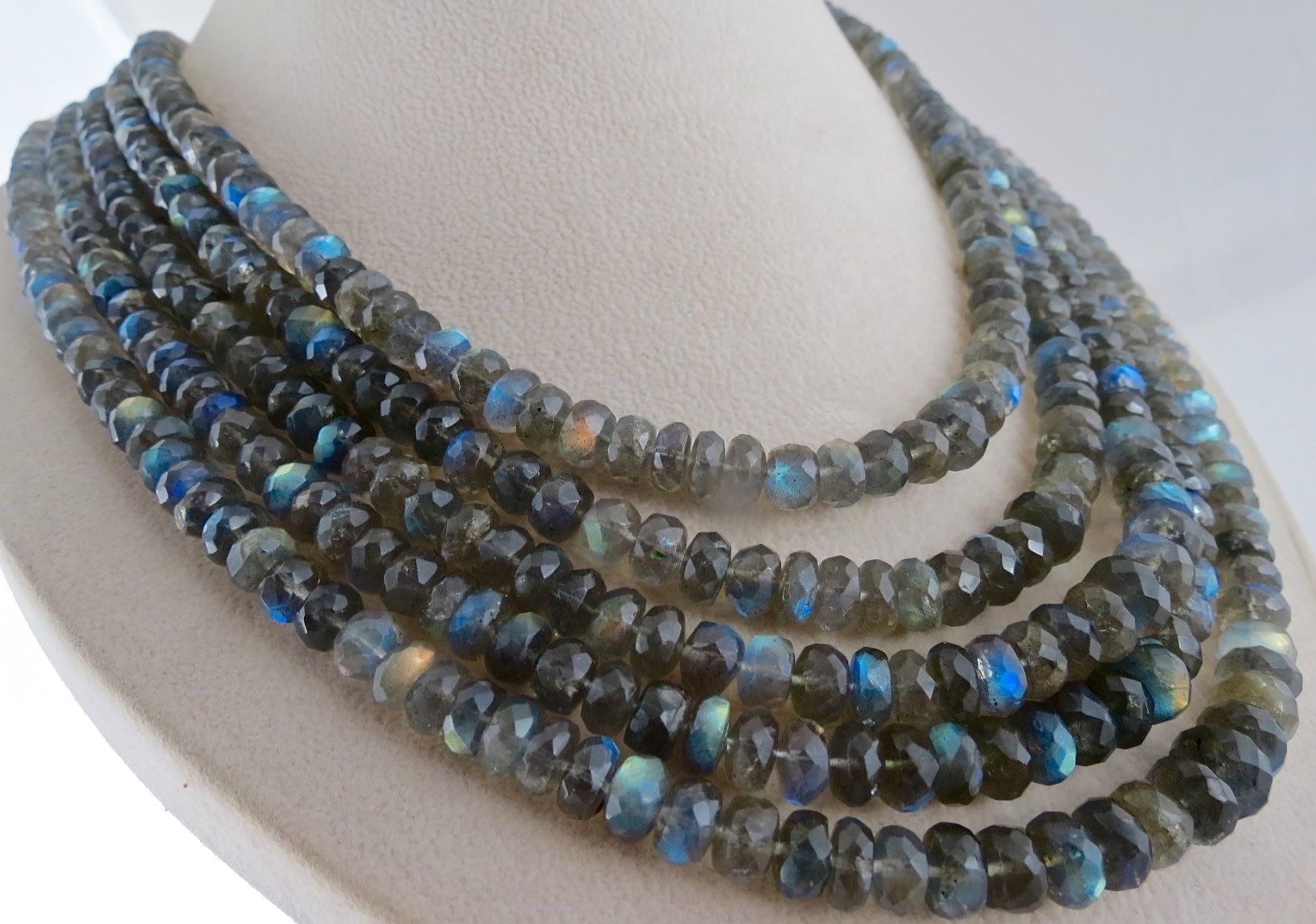 NATURAL BLACK LABRADORITE BEADS FACETED ROUND 5 LINE 1100 CTS LADIES NECKLACE