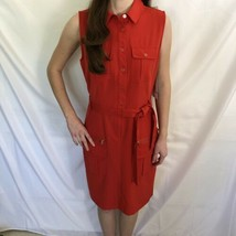 Zac & Rachel Red Cargo Sleeveless Shirt Dress 8 NEW  - $29.99