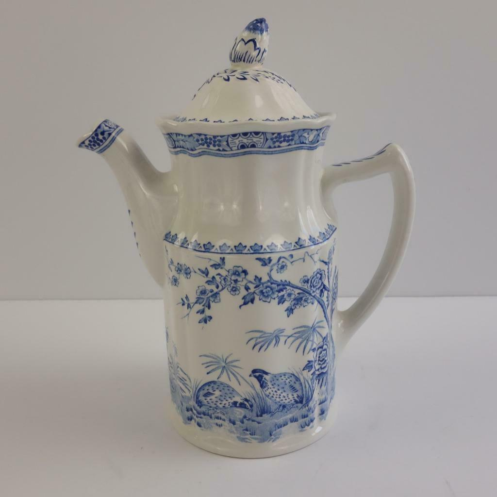 Primary image for Vintage Quail Blue by Mason's Ironstone England Coffee Pot with Lid Rare