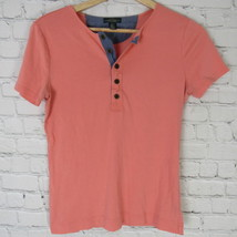 Ralph Lauren Shirt Top Womens Medium M Pink Henley B57 - $23.17