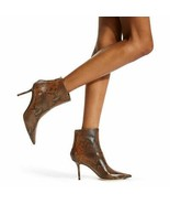 Jimmy Choo Beyla Snake-Print Booties Brown Ankle Boots Boot 37.5 - $399.00