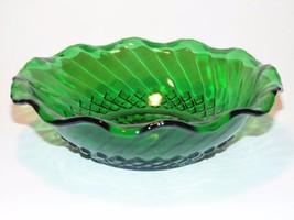 Forest Green Diamond Swirl Bowl w/ Ruffled Rim ... - $7.84