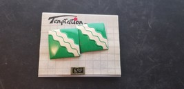 Vintage Temptation Brand Green Square Earrings W/ White Squiggly Stripes... - $15.44