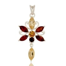 Natural Citrine Garnet Birthstone Jewelry 925 Sterling Silver Artisan Pe... - $37.62