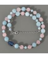 Aquamarine, Rose Quartz & Kyanite Gemstone Necklace in 925 Sterling Silv... - $94.99