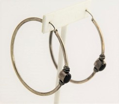 VINTAGE Jewelry BOHO BALI SILVER LARGE HOOP PIERCED EARRINGS WITH ONYX 9... - $30.00