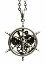STEAMPUNK GEARWORK MARINE WHEEL HELM NECKLACE ALLOY PENDANT FASHION JEWELRY - $17.99