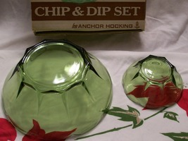 Vintage Anchor Hocking- 2 Tiered- 3 Pc Chip & Dip Set- Avocado Green w/Orig Box  image 3