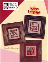 Love Triplet valentine cross stitch chart Heart in Hand  - $7.20