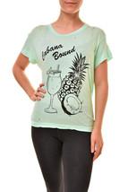 Wildfox Da Donna Pinhole WCJ126 70Y T-Shirt Aqua Diver Blu S - $42.95