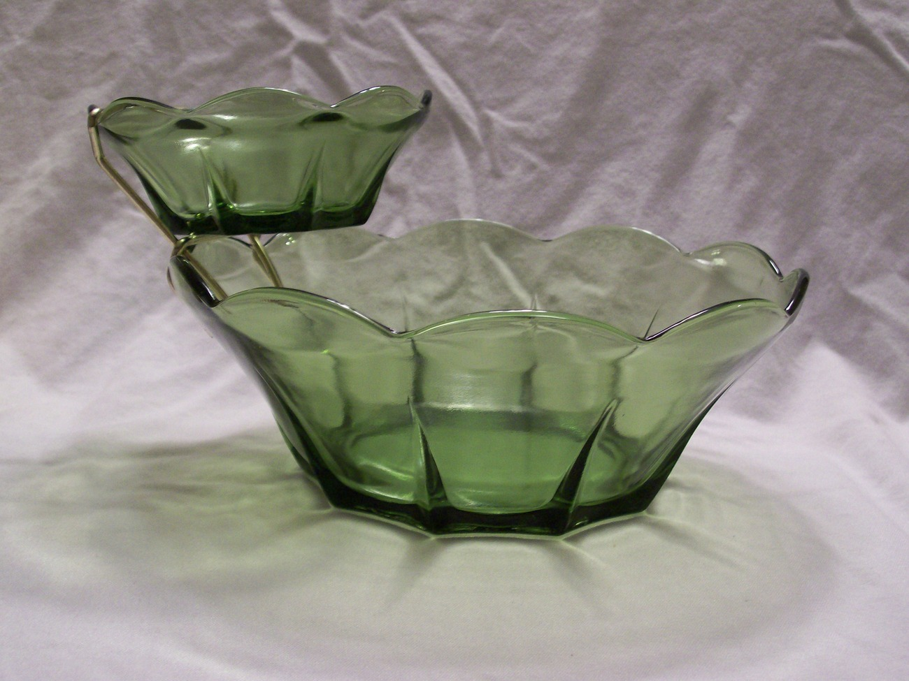 Vintage Anchor Hocking- 2 Tiered- 3 Pc Chip & Dip Set- Avocado Green w/Orig Box  image 5