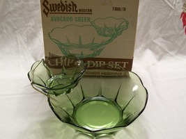 Vintage Anchor Hocking- 2 Tiered- 3 Pc Chip & Dip Set- Avocado Green w/Orig Box  image 6