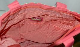 NGIL GUA2121 Quilted Pink Striped Vine Print Coral Green Diaper Bag image 9