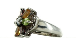 Ladies Size 7.25 Sterling Silver Multi Color Gemstone Fashion Ring No. 2153 image 2