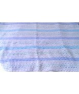 Crocheted  Boy's Baby Blanket Afghan- Shades of Blue-Green and White - $19.99