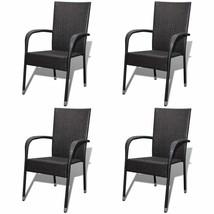 vidaXL 4x Garden Dining Chair Poly Rattan Brown Patio Seat Outdoor Furni... - $205.99