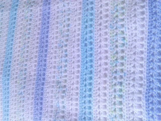 Crocheted  Boy's Baby Blanket Afghan- Shades of Blue-Green and White