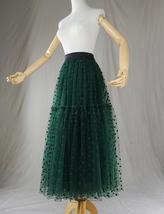 DARK GREEN Tutu Skirt Women Midi Tutu Skirt Dark Green Dot Party Skirt Plus Size image 5