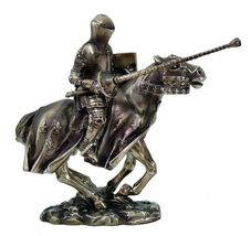 MEDIEVAL KNIGHT ON HORSE FIGURINE - $56.43